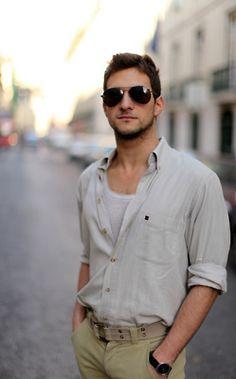 white/beige shirt & sable chino pants / men fashion
