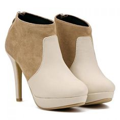 Trendy Stiletto and Splicing Design Women's Short Boots  http://www.nastydress.com/pg/25515.html