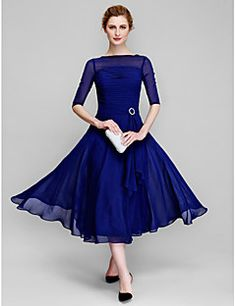 A-Line+Bateau+Neck+Tea+Length+Chiffon+Mother+of+the+Bride+Dress+with+Ruching+by+LAN+TING+BRIDE®+–+USD+$+225.00