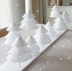 Add a little holiday cheer to your home with these festive tabletop DIY Christmas tree decorations! These Christmas tree crafts are fun, easy & kid-friendly Paper Christmas Decorations, Creative Christmas Trees, Christmas Tree Crafts, Mini Christmas Tree, Cheap Christmas, Simple Christmas, White Christmas, Christmas Ornaments, Christmas Ideas
