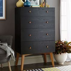 "Tall Storage 5-Drawer Dresser - Black #westelm. 31.5""w x 19""d x 52.75""h. $600"