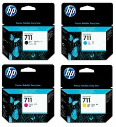 GENUINE & BOXED HP711 B/C/M/Y INK CARTRIDGES 4 COLOURS IN LOT - SWIFTLY POSTED #HP