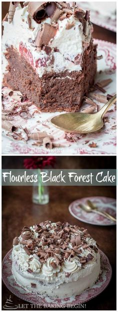 Fudgy flourless Chocolate Cake topped with Whipped Cream & Boozy Cherries, this version of Black Forest Cake will make your tastebuds sing!