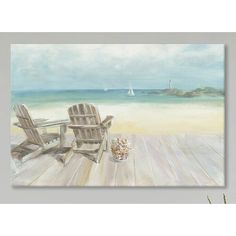 Beachcrest Home™ Seaside Morning No Window Graphic Art on Wrapped Canvas
