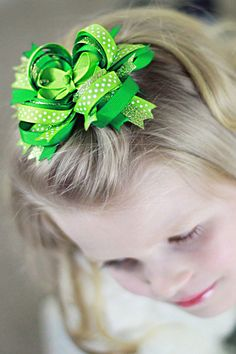 St. Patrick's Day Glitter Hair Bow