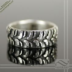 mud bogger solid sterling silver truck tire wedding band