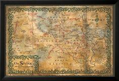 The Hobbit - Desolation of Smaug Karte von the Shire Laminiertes gerahmtes Poster