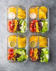 No Cook Taco Salad Bento Box. This no cook taco salad bento box is ready for your lunch in under 25 minutes! A great vegetarian meal prep lunch. Lunch Box Recipes, Lunch Snacks, Clean Eating Snacks, Healthy Eating, Lunch Box Meals, Bento Lunch Ideas, Easy Healthy Lunch Ideas, Snack Boxes Healthy, Bento Lunchbox