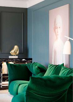 Green velvet couch.