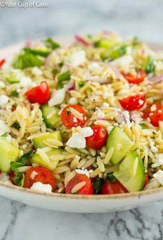 My FAVORITE pasta salad! The Best Orzo Pasta Salad. It is so easy to make and it is so fresh. #fresh #food #lunch #dinner #pasta #salad #quick #easy #inspiration