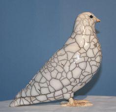 Crackle White Raku Dove - Raku Ceramic Sculpture