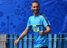 "Leonardo Bonucci of Italy prior to the training session at ""Bernard Gasset"" Training Center on June 29, 2016 in Montpellier, France."