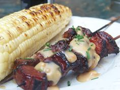 Grilled pork satays with peanut sauce - a great recipe for our sliced tenderloin