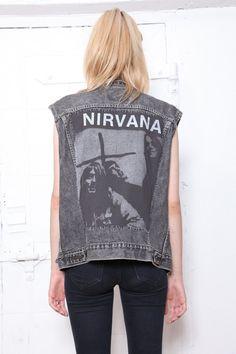 90s oversized faded grey Levis denim vest with Nirvana patch on back.