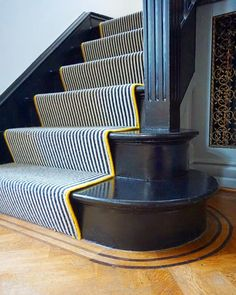 Guess where I am? Well, I'm miles away from the nearest cow pat that's for sure! Last night at after the littlest peach had… Black Painted Stairs, Black And White Stairs, Staircase Runner, Stair Runners, Stair Carpet Runner, Victorian Hallway, Flur Design, Hallway Flooring, Hallway Inspiration
