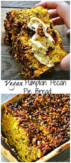 Vegan Pumpkin Pecan Pie Bread - Rabbit and Wolves Vegan and refined sugar free pumpkin bread, studded with pecans and topped with a pecan pie filling type of situation. This is the best pumpkin bread EVER! Vegan Pumpkin Bread, Pumpkin Pecan Pie, Pumpkin Spice Syrup, Vegan Bread, Vegan Pecan Pie, Paleo Vegan, Pumpkin Cheesecake, Pumpkin Recipes, Pecan Pie Filling