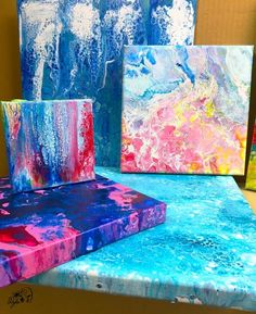 In this demonstration, you'll discover interesting cells that you can create by pouring acrylic paint from a cup onto a canvas. Art Painting, Art Diy, Modern Art Diy, Canvas Art Projects, Writing Art, Painting, Museum Of Modern Art, Art, Street Art