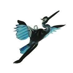 Art Glass Blue Heron Large Ornament by WGK
