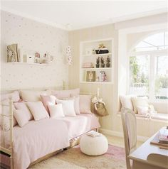 girl room/ walls and daybed Dream Bedroom, Home Bedroom, Girls Bedroom, Bedroom Decor, Style Deco, Shabby Chic Bedrooms, Trendy Bedroom, Little Girl Rooms, My New Room