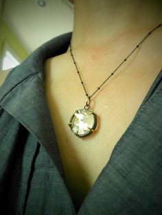 Custom Gold & Silver Keepsake Gem Shaker Locket Necklace 20mm- Send Me Your Keepsakes. $328.00, via Etsy.