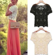Cheap FanShou Envío Gratis Nuevo 2014 de primavera y verano blusas de las mujeres ahueca hacia fuera ocasionales atan camisas Floral Crochet encaje blanco Tops Blusas, Compro Calidad Blusas y Camisas directamente de los surtidores de China: