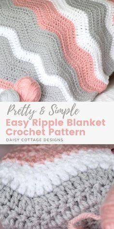 Chevron Crochet Blanket Pattern, Crochet Baby Blanket Free Pattern, Crochet For Beginners Blanket, Chevron Baby Blankets, Ripple Crochet Patterns, Easy Blanket Knitting Patterns, Crochet Afghans, Crochet Ripple Blanket, Simple Crochet Blanket