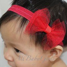 Entrancing Red Tulle Bow Headband - Headbands - AllBabyGirls - 1