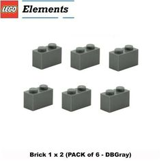Lego Parts: Brick 1 x 2 (DBGray)