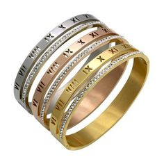 85168ae9e Beautiful roman numeral minimalist love bracelet luxury minimal bangle cuff  bling stainless steel jewelry. Great