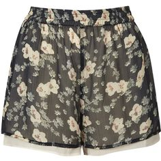 TOPSHOP Reclaim To Wear Double Layer Floral Shorts ($35) ❤ liked on Polyvore featuring shorts, short, bottoms, pants, black, elastic waistband shorts, flower print shorts, short shorts, stretch waist shorts and layered shorts