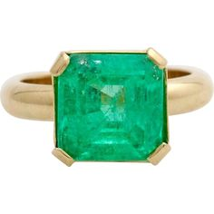 Offered for sale is a  5 carat square cut solitaire Emerald of the finest quality, set in a simple 14K gold setting.  The stone is pure green, with