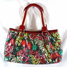 Brighton Gorgeous Red Floral Large Purse Tote Bag Quilted w Patent Leather  Trim  Brighton   45695c85602fa