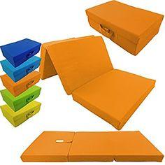 Children folding guest matress 120 x 60 x 6 cm transportable fold out kids matress in different colors, Color:Orange: Amazon.co.uk: Kitchen & Home