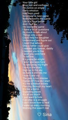 A more recent poem I wrote. I miss my dad so very much and suicide leave so many unanswered questions. I wish this was all a nightmare!