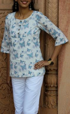 HandsOfIndia - Flared sleeves top