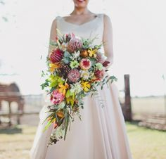Native Australian wedding bouquet with protea, banksia and wax flower