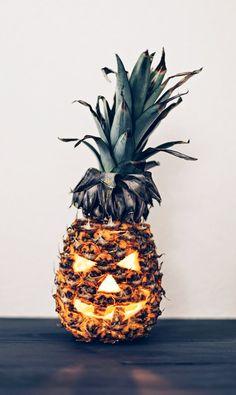 Pineapple jack-o'-lantern.