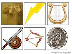 Ένα παιχνιδάκι που έφτιαξα φέτος (ανάλογο των  9 Μουσών )  είναι οι 12 θεοί και τα σύμβολά τους. Βρήκα εξαιρετικές εικόνες του 12θεου εδώ... Greek Gods, Greek Mythology, Greece, Math, Crafts, Mathematics, Manualidades, Math Resources, Handmade Crafts