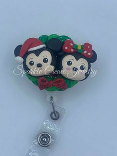 Mickey and Minnie Mouse Christmas Clay Badge Reel #Disney