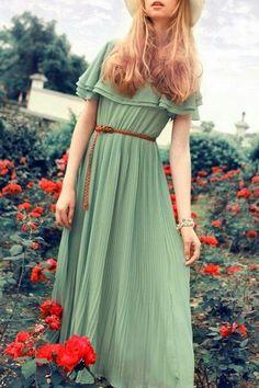 FASHION AND STYLE: Dark Sea Green Maxi Dress