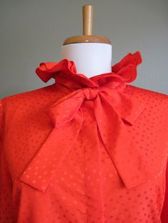 Ascot Blouse Vintage Red Ruffle Polka Dots by InTheHammockVintage,