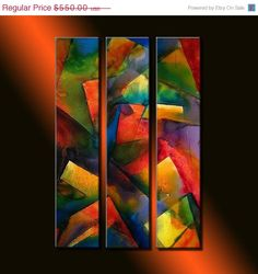 ORIGINAL Abstract Contemporary Fine Art by newwaveartgallery, $495.00