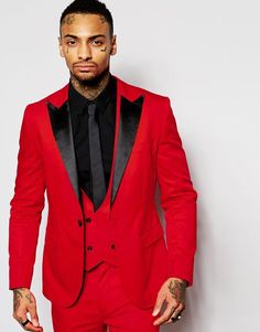 Fashion Red Mens Suits Black Peaked Lapel Three Pieces Groom Tuxedos Custom Made Slim Fit Groomsmen Wedding Suits Jacket+Pants+Vest+Tie Online with $91.1/Piece on Lovelif666's Store   DHgate.com