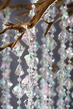 iridescent wedding decor   Details about 60ft Iridescent Crystal Diamond Beads Wedding Decor