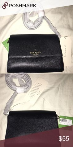 """Kate Spade NWT Cedar Street Magnolia Crossbody blk Cross body with a large magnetic flap closure.  5""""h x 7.5""""w x 3""""d  Drop length: 22""""  Crosshatched leather with matching trim  14-karat light gold plated hardware  Custom woven caroleena  Spade dot lining Interior slide pocket  Style# pxru6953  Comes from a pet free and smoke free home! Kate Spade Bags Crossbody Bags"""