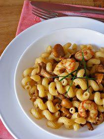 ¡Sano y de rechupete!: Amorelli con gambones y setas al curry panang