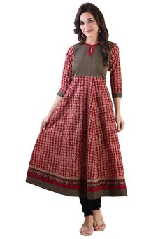 Buy Red Cotton Readymade Anarkali Long Kurta online, work: Printed, color: Red, usage: Casual, category: Indo Western, fabric: Cotton, price: $41.60, item code: TDL1058, gender: women, brand: Utsav