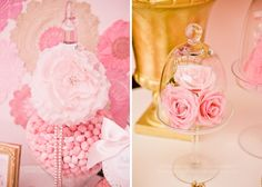 pink roses under glass  Fabulously Fifty Guest Dessert Feature | Amy Atlas Events