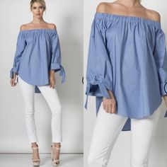 Long Sleeve Off the Shoulder Top Long sleeve off the shoulder top in DENIM BLUE with tie wrist. Made in the USA. Item is brand new without tags. Any questions please ask. Tops