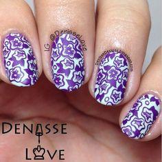 Nail art created by #DenisseLove using #BM713 #nailstamp #ShopBM